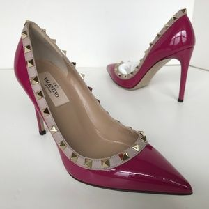 Rockstud Patent Pointy Toe 100mm Pumps